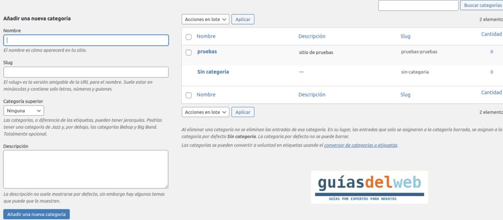 Como crear una categoría en WordPress