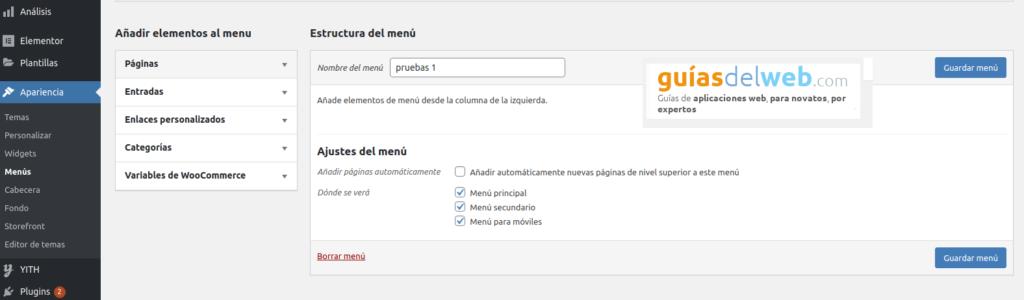 Cómo añadir un enlace personalizado al menú principal en WordPress