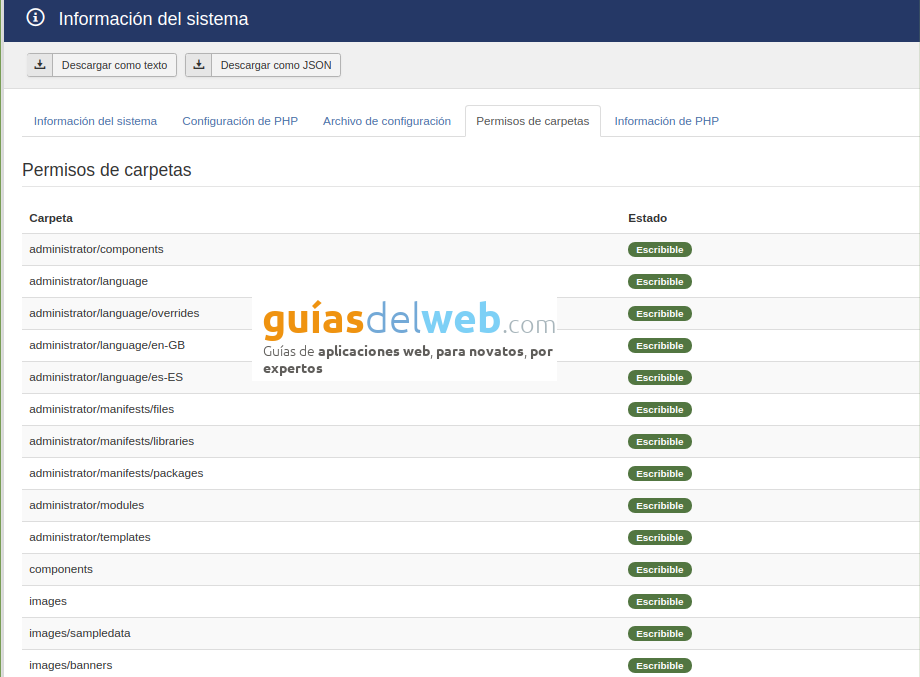 Cómo ver la información del sistema en Joomla