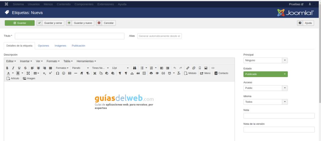 Cómo crear una etiqueta para los post en Joomla
