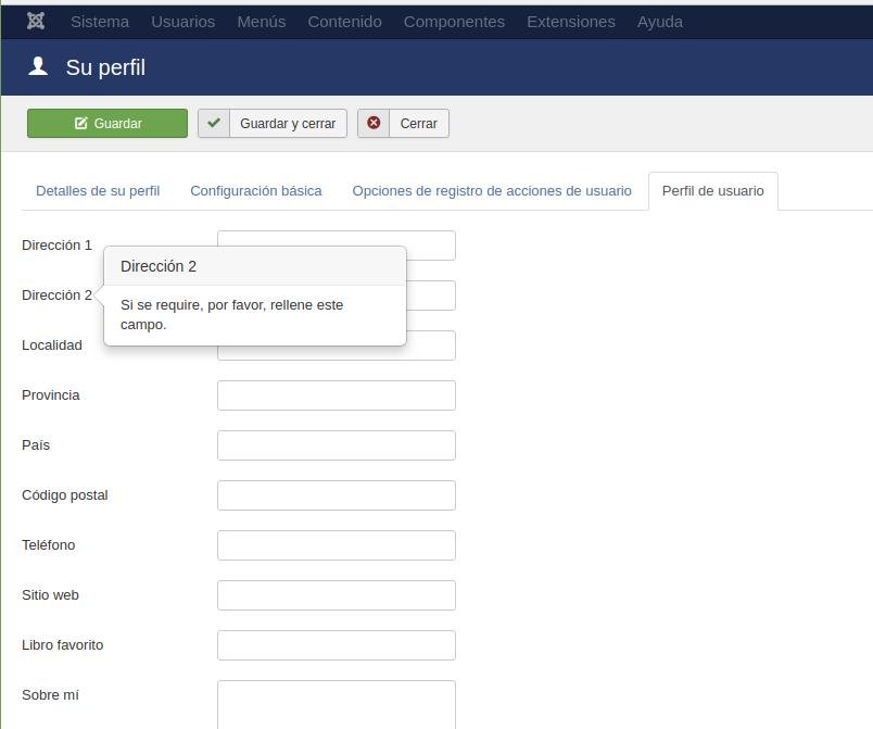 Cómo cambiar datos personales de una cuenta en Joomla